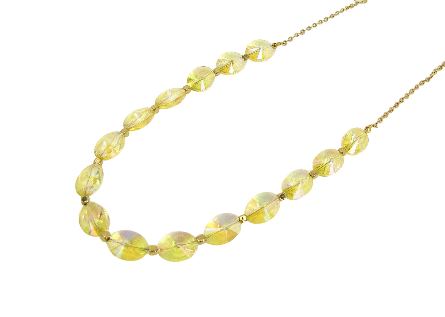 necklace with yellow beads and crystals