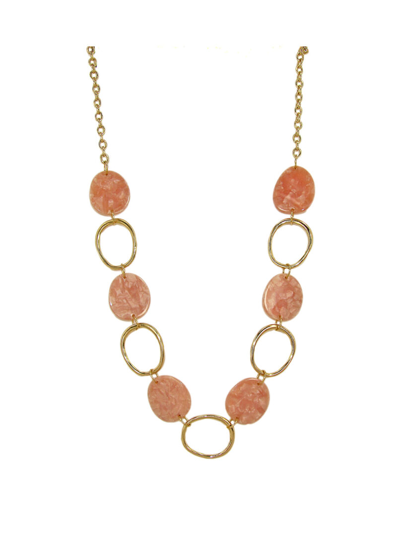 chain necklace with pink stones and gold metal