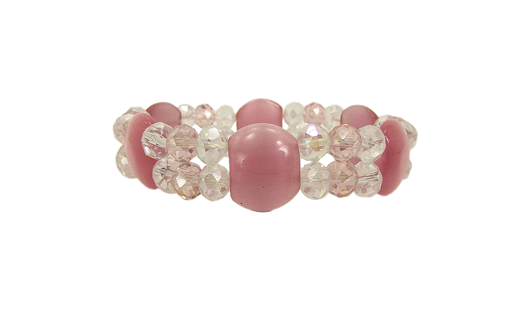 bracelet with pink stones and crystals