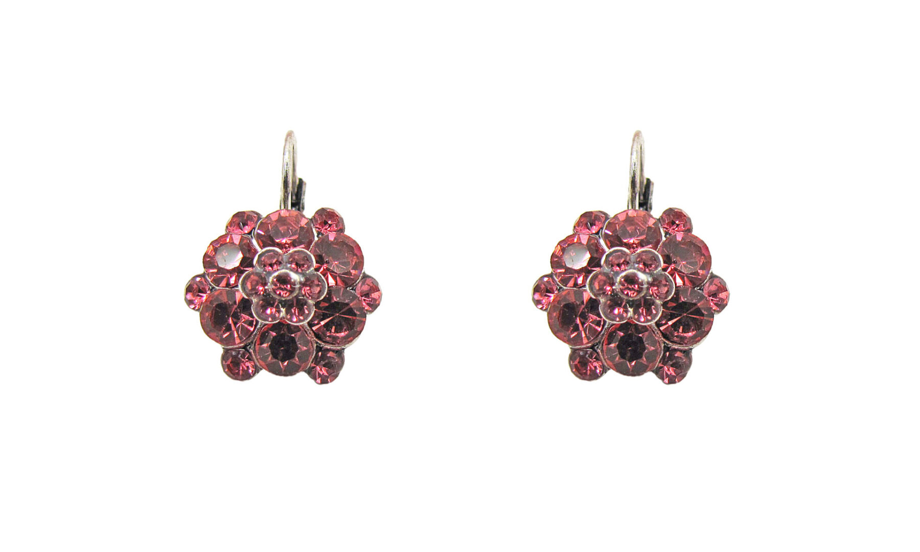 earrings with red gems arranged in florets