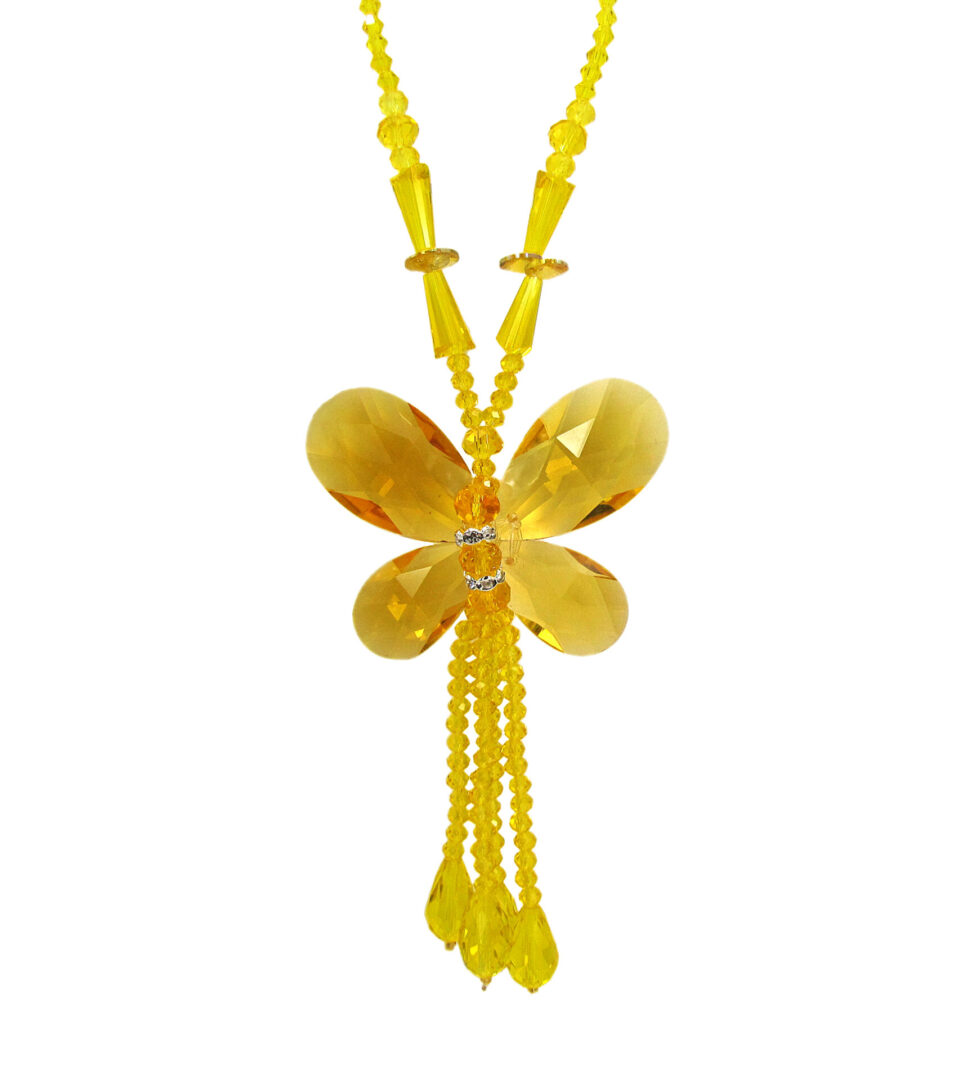 necklace with yellow beads shaped like a butterfly