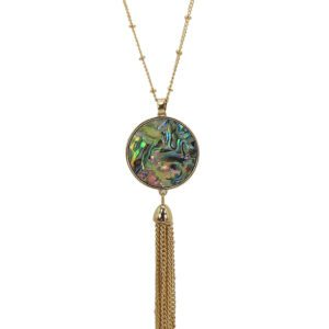 necklace with tassel and black opal design