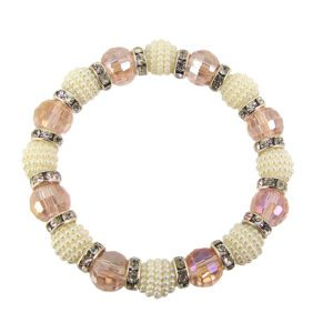 bracelet with pink beads and mini pearls