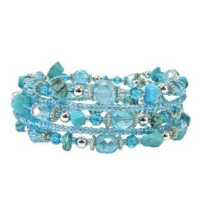 bracelet with many layers and blue beads and gems