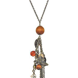 necklace with wooden globe and miscellaneous accessories