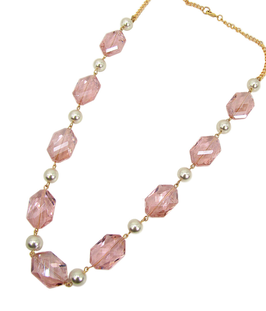 necklace with large, pink crystal gems