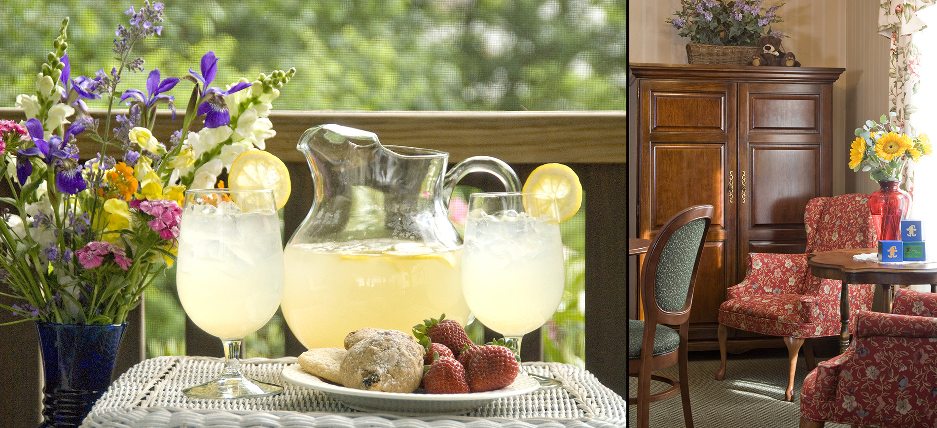 pitcher & glass of lemonade with cookies & strawberries & flowers, sitting room with red wing chair on right