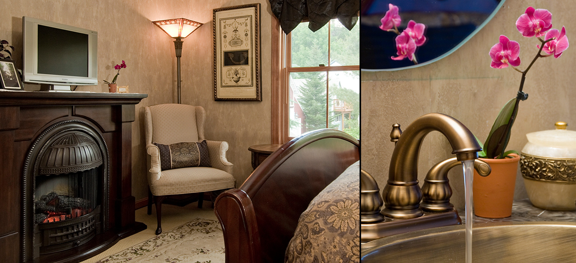 Guest room with victorian fireplace, wing chair & lamp, windows, queen sleigh bed, closeup of sink with running water & orchid plant