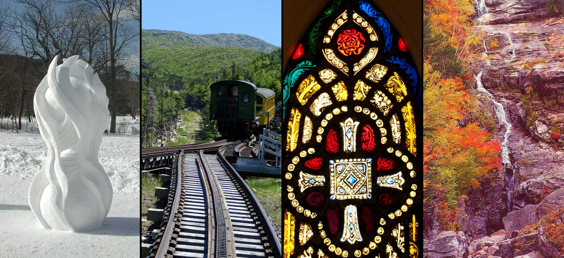 Collage of snow sculpture cog railway stained glass Silver Cascade waterfall
