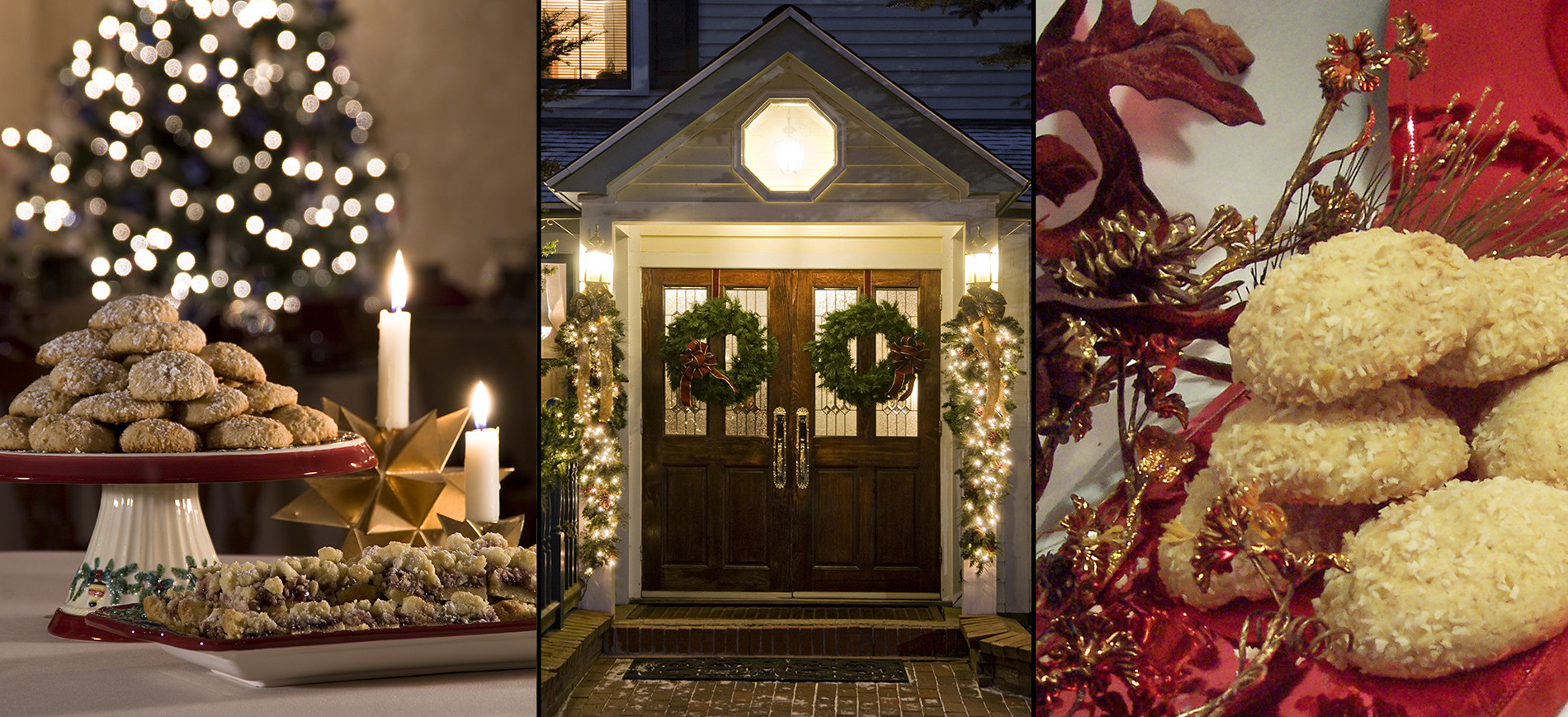 Cookies on stand & plate with candle, gold star, Xmas tree in background, Entrance doors to inn with holiday wreaths & lights, closeup of cookies on red cloth