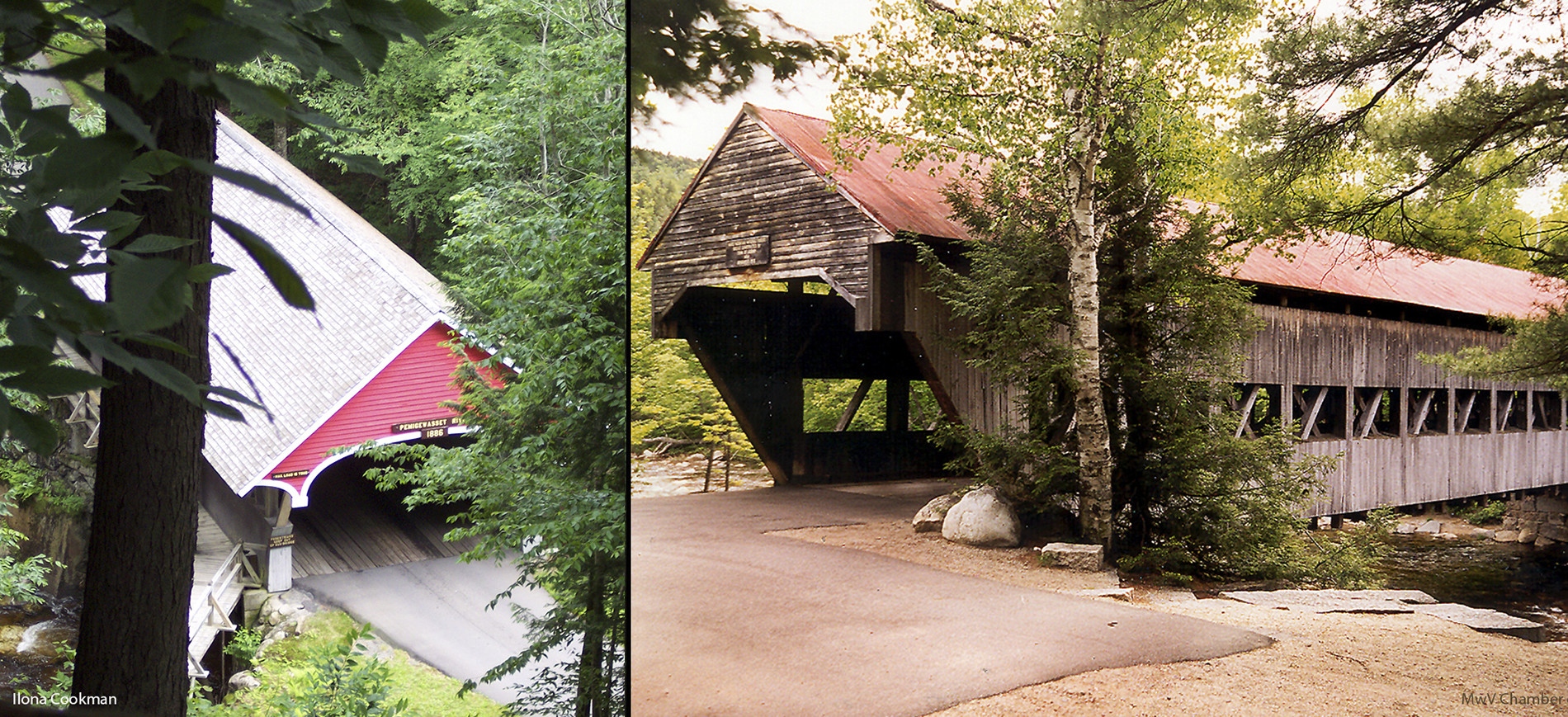 Collage of red covered bridge at the Flume & Conway covered bridge on right