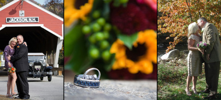 Couple kissing by covered bridge, rigns on rock with flowers, couple kissing by river