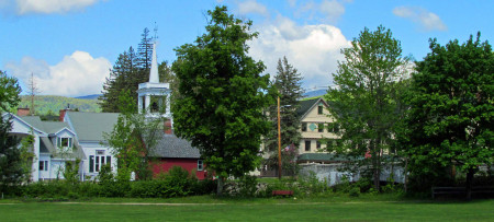 Old library & Jackson NH church with white steeple
