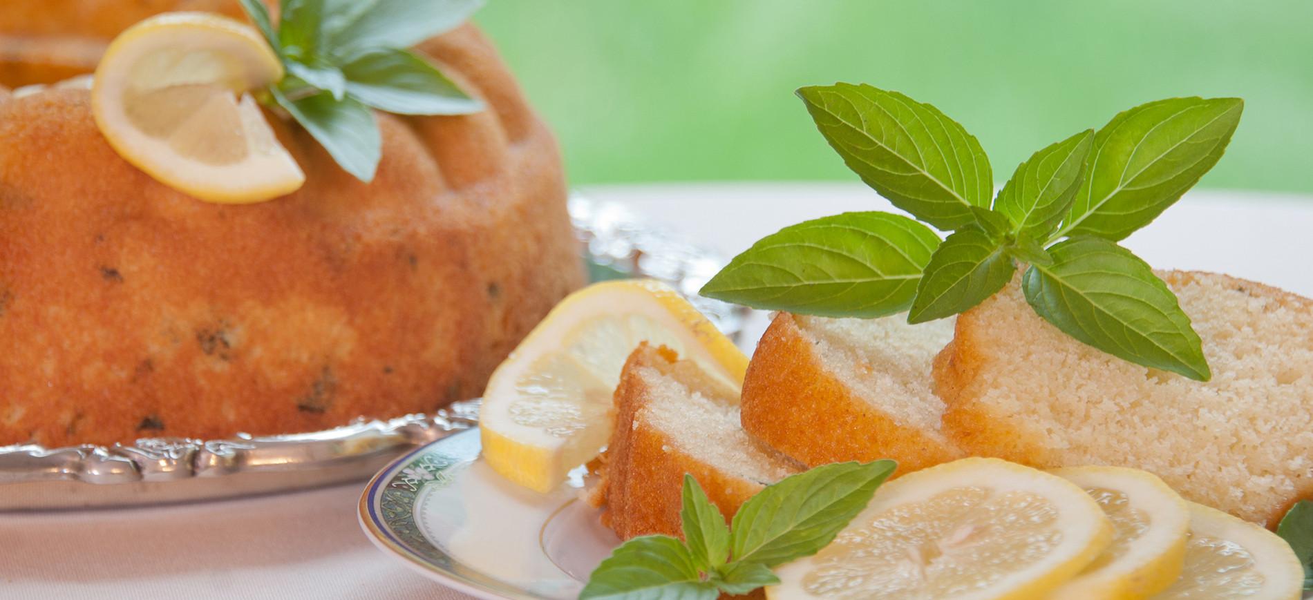 Lemon Basil Coffeecake with lemon & basil garnish on left, slices of cake with garnish on right