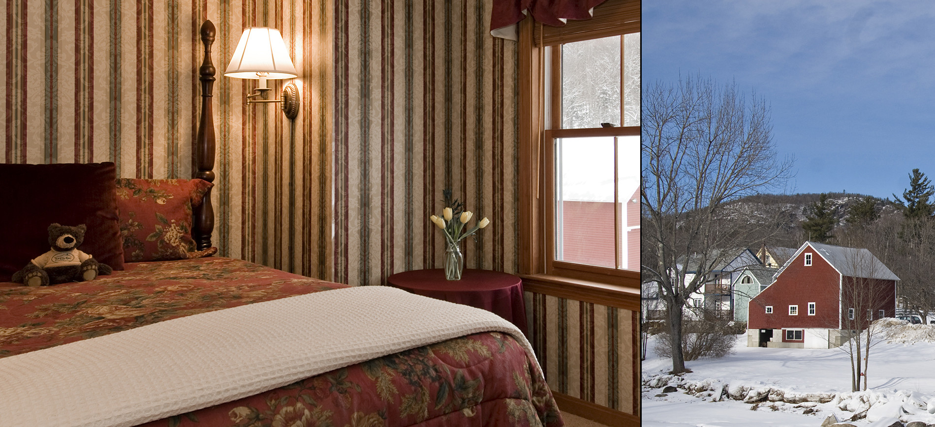 Guest room with burgundy, green & gold striped wallpaper, queen bed with print bedding, window view of barn, burgundy wing chair, exterior of red barn in snow
