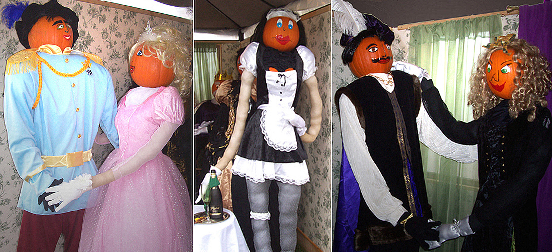 Collage of two pumpkin couples dancing with Fiona the pumpkin maid standing in the middle