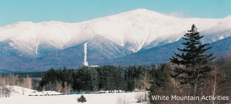 Mount Washington in snow from Bretton Woods ~ White Mountain Activities
