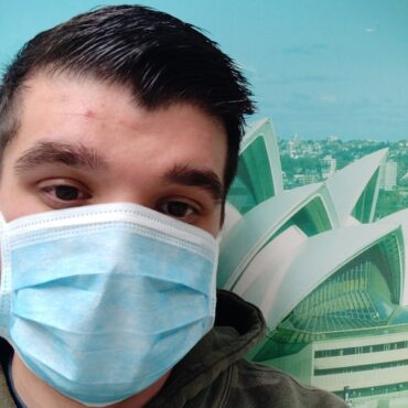 One of our employees wearing our lovely masks
