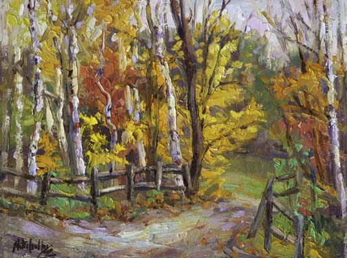 "Into the Woods III - 9"" x 12"" - textured oil painting"