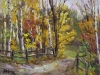 """Into the Woods III - 9"""" x 12"""" - textured oil painting"""