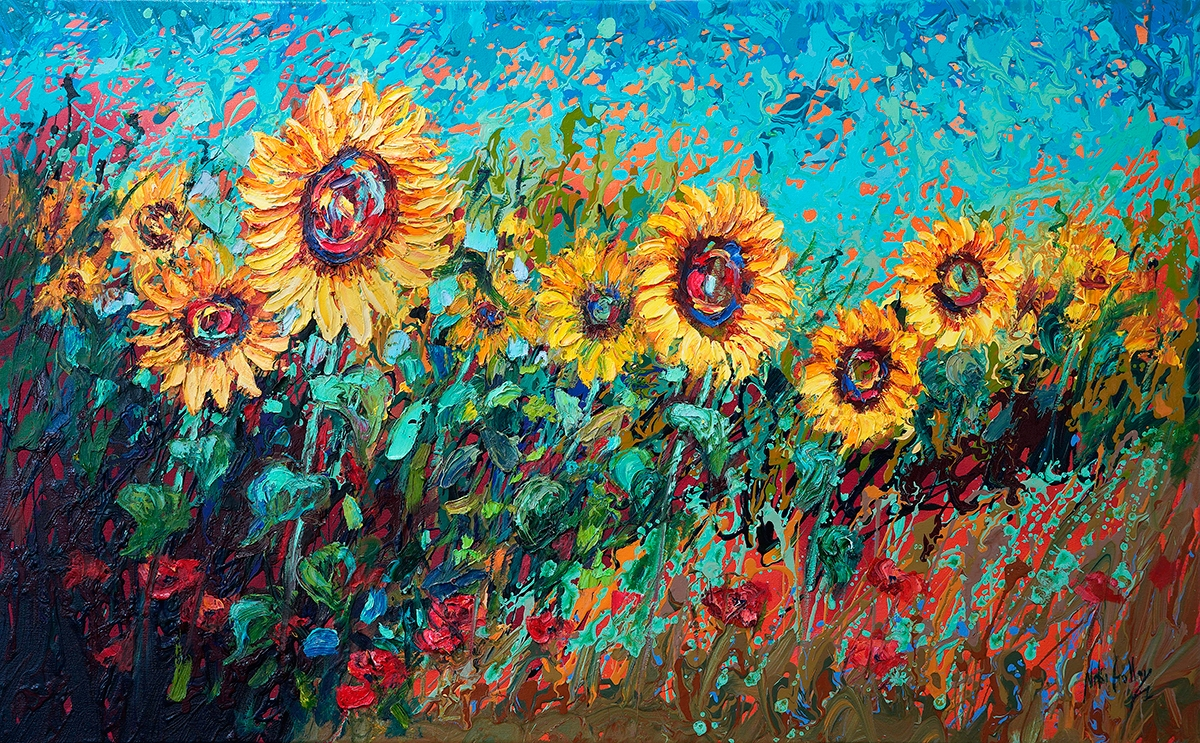 contemporary impressionist, dallas texas artist, floral art, Niki Gulley paintings, sunflower painting