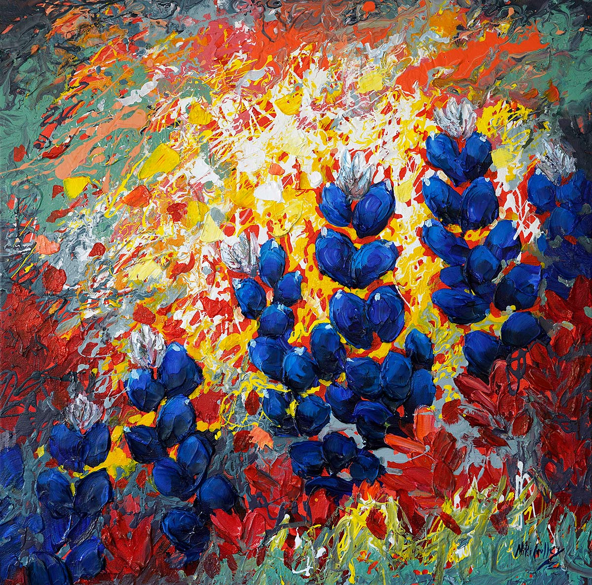 contemporary impressionist, dallas texas artist, Bluebonnet, Niki Gulley paintings