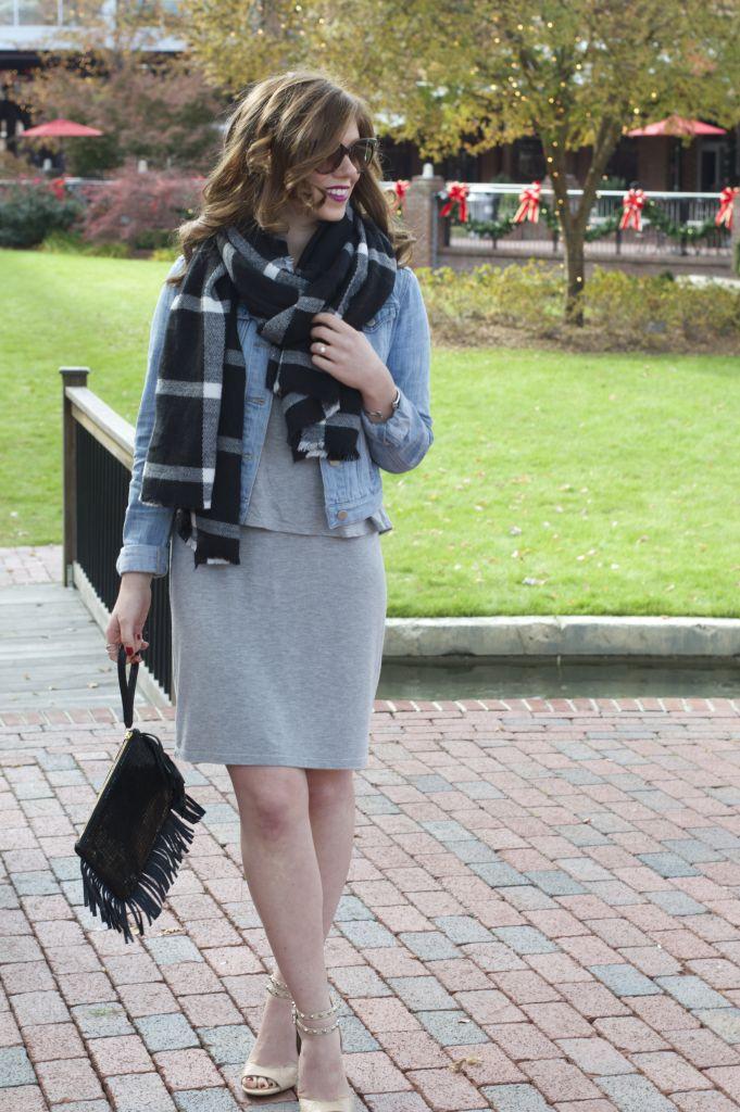 Old Navy Blanket Scarf, Jersey Midi Dress, Loft Denim Jacket, Kelly Wynne, Frisky Biz Wristlet