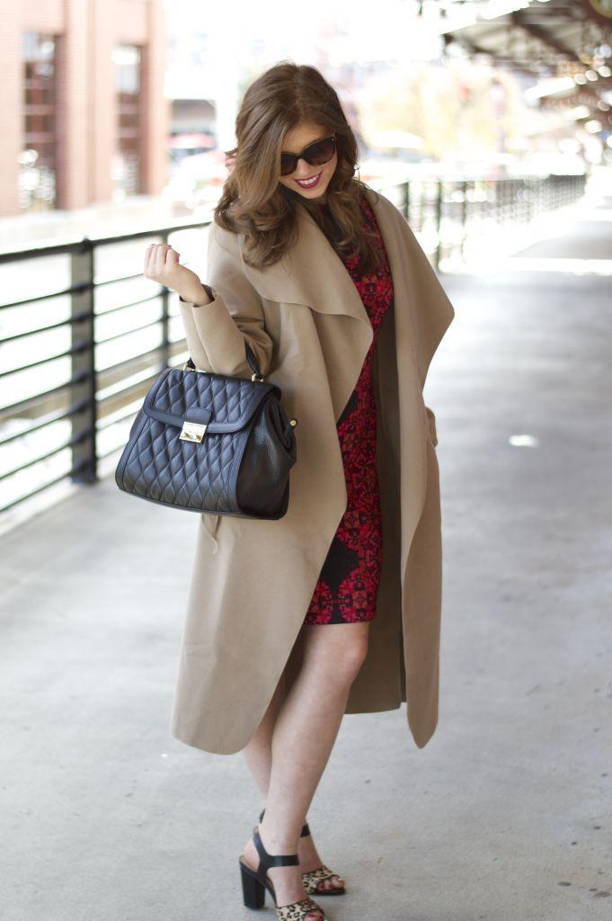 vera bradley, boohoo shawl collar coat, eliza j dress, sole society leopard heels