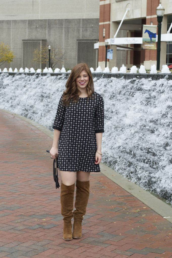 Holiday Style, Holiday Dress, Christmas Dress, OTK Boots, Fringe Clutch, Holiday Clutch