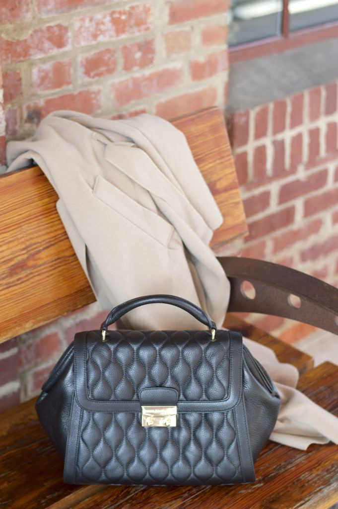 vera bradley, boohoo shawl collar coat, camel wrap coat, quilted handbag, vera bradley stella quilted handbag
