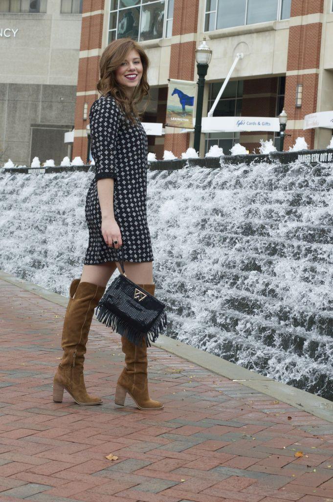 Holiday Dress, Christmas Dress, OTK Boots, Fringe Clutch, Holiday Clutch, Holiday Style