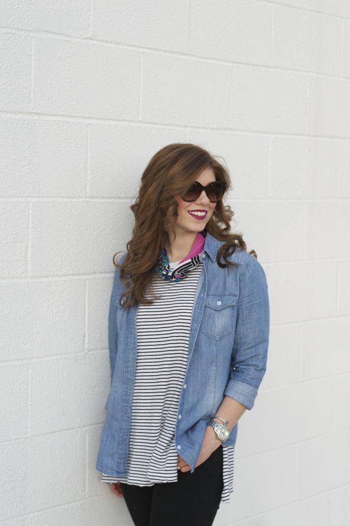 Loft Modern Skinny Jeans, Black Jeans, Old Navy Stripe Tunic, Loft Chambray Shirt, Shoreline Converse, Weekend Casual
