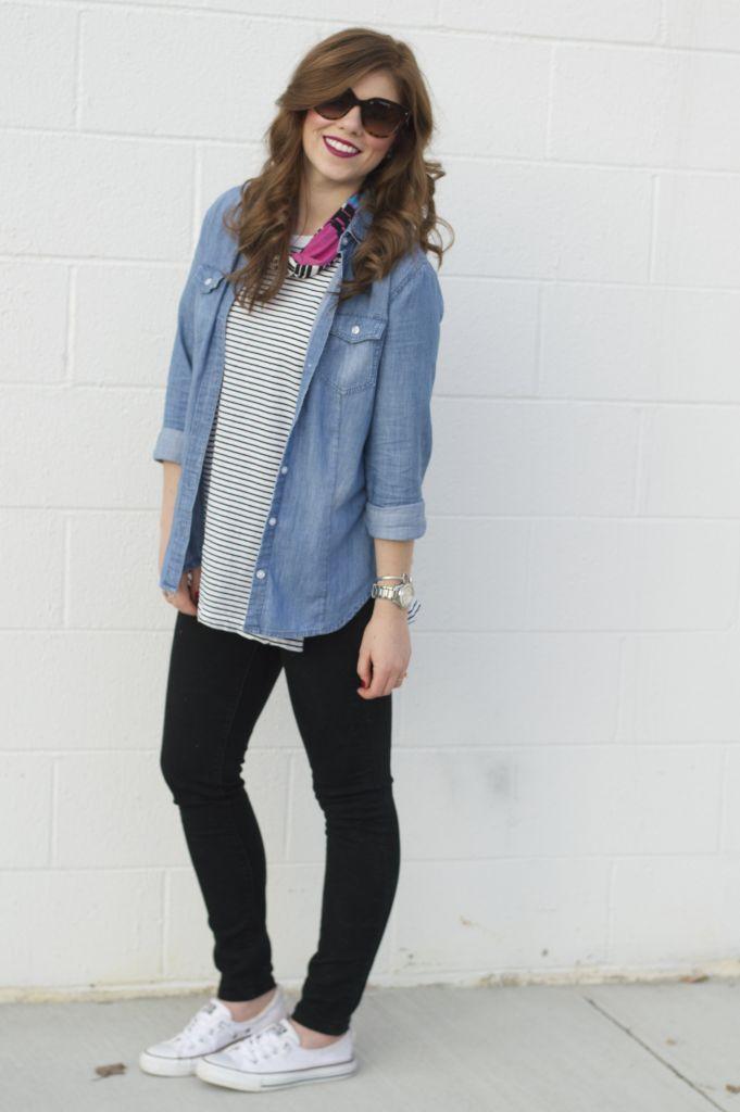Loft Modern Skinny Jeans, Black Jeans, Old Navy Stripe Tunic, Loft Chambray Shirt, Shoreline Converse, Chucks