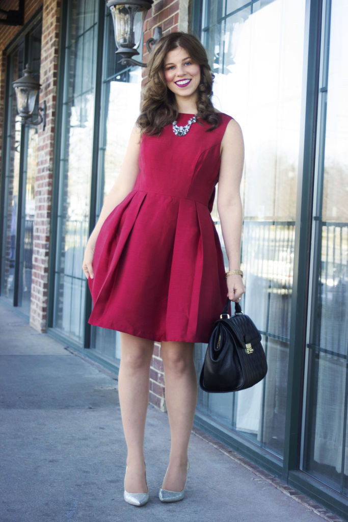Holiday Party Dress, Soprano Bow Back Fit & Flare, Red Dress, Red Christmas Dress, Sparkle Heels, Vera Bradley Quilted Stella Satchel