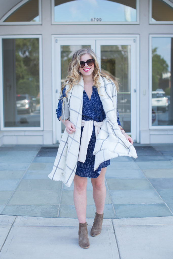 #50Styles50States, Old Navy Pleated Tie Neck Swing Dress, Old Navy Classic Marled Crew Neck Sweater, Old Navy Oversized Flannel Scarf, Old Navy Suede Double Zip Crossbody
