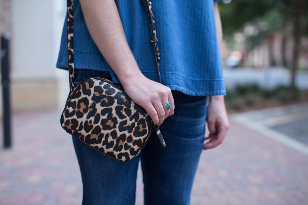J.Crew Swing Top, Citizens of Humanity Emerson Slim Boyfriend Jeans, J.Crew Signet Bag Leopard, Summer to Fall Style