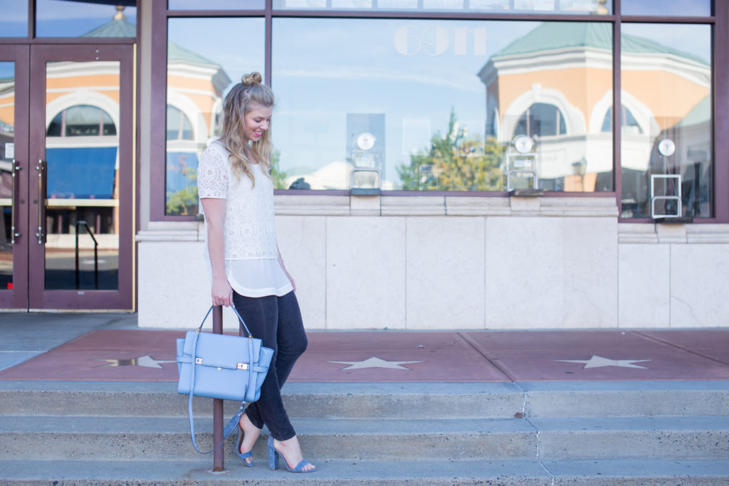 Corduroys, Pleione Double Layer Short Sleeve Lace Top, Kut from the Kloth Diana Stretch Corduroy Skinny Pants, Henri Bendel Satchel, Half-up Top Knot, Steve Madden Carrson Sandals, Summer to Fall Style