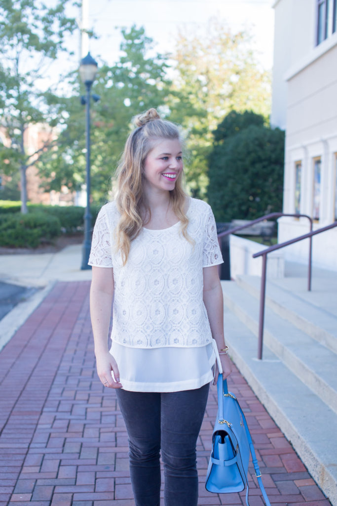 Pleione Double Layer Short Sleeve Lace Top, Kut from the Kloth Diana Stretch Corduroy Skinny Pants, Henri Bendel Satchel, Half-up Top Knot, Steve Madden Carrson Sandals, Summer to Fall Style, Corduroys