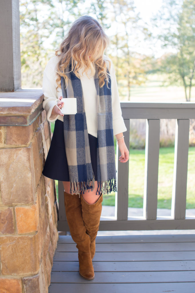 Vince Camuto Ribbed Turtleneck Sweater, Plaid Scarf, Dolce Vita Over The Knee Boots, J.Crew Flute Skirt, Thanksgiving Outfit, David Yurman Cable Cuff