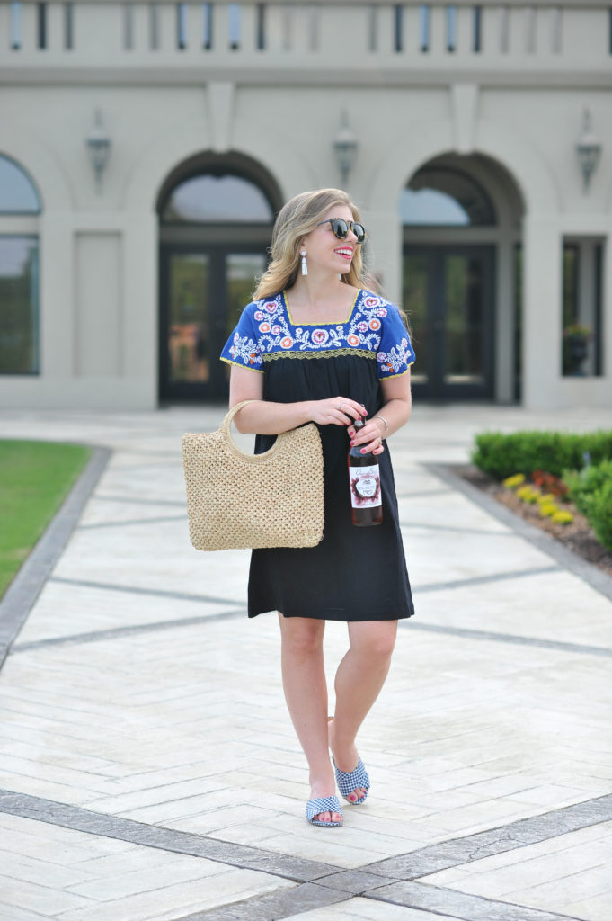 Louella Reese Embroidered Shift Dress // 5 Ways to Wear A Straw Handbag
