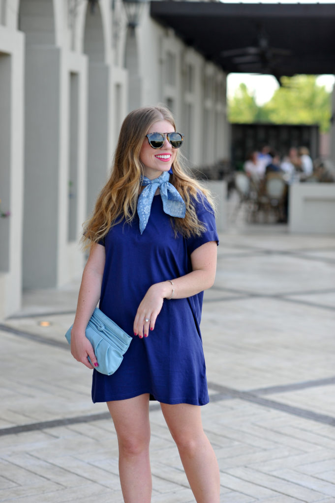 Louella Reese Navy T-Shirt Dress under $10 // How to Dress Up a T-Shirt Dress