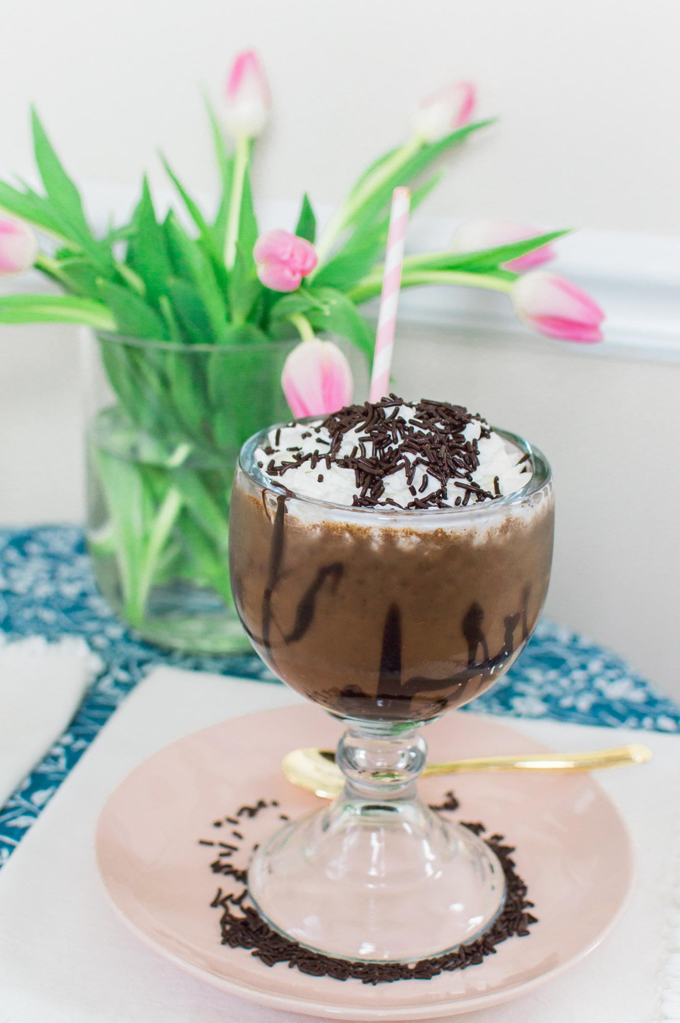 Homemade Frozen Hot Chocolate | Valentine's Day Dessert Idea | Louella Reese Life & Style Blog