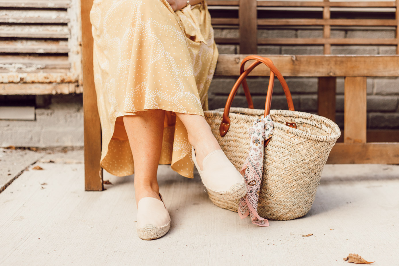 Step Out of Your Color Comfort Zone   Neutral Straw Tote, Espadrille Loafers and Yellow Midi Skirt styled on Louella Reese
