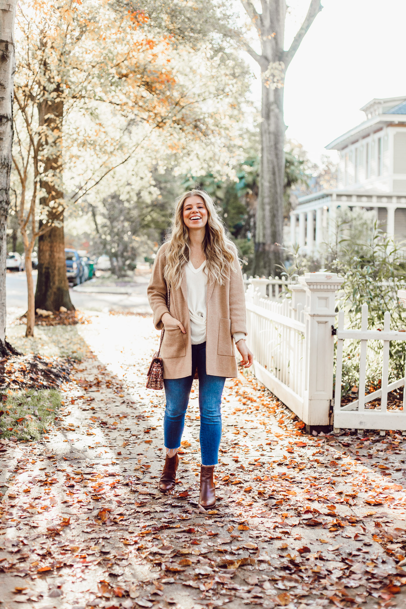 What to Wear to Friendsgiving   Knotted Front Waffle Top, Casual Sweater Blazer featured on Louella Reese Life & Style Blog