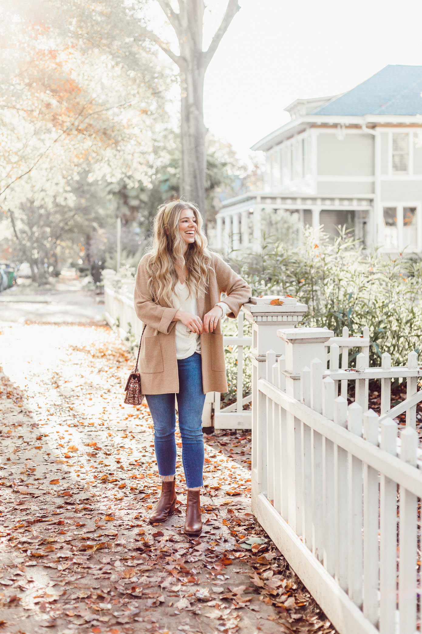 Casual Thanksgiving Outfit Inspiration   Casual Sweater Blazer featured on Louella Reese Blog