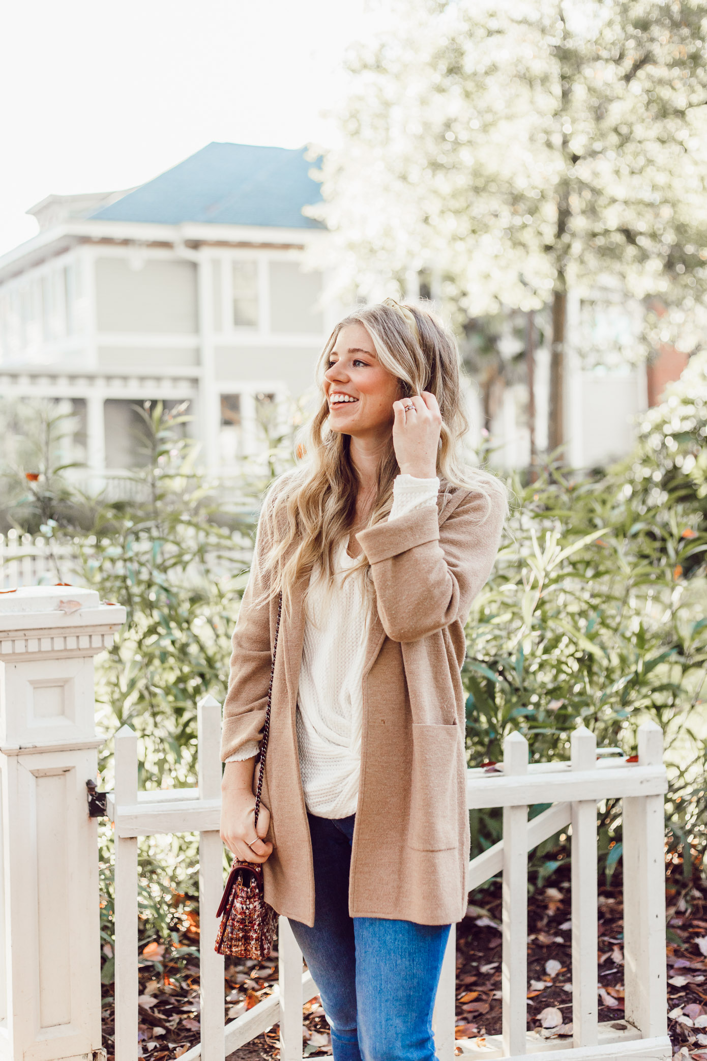Casual Thanksgiving Outfit Inspiration   Casual Sweater Blazer featured on Louella Reese Life & Style Blog