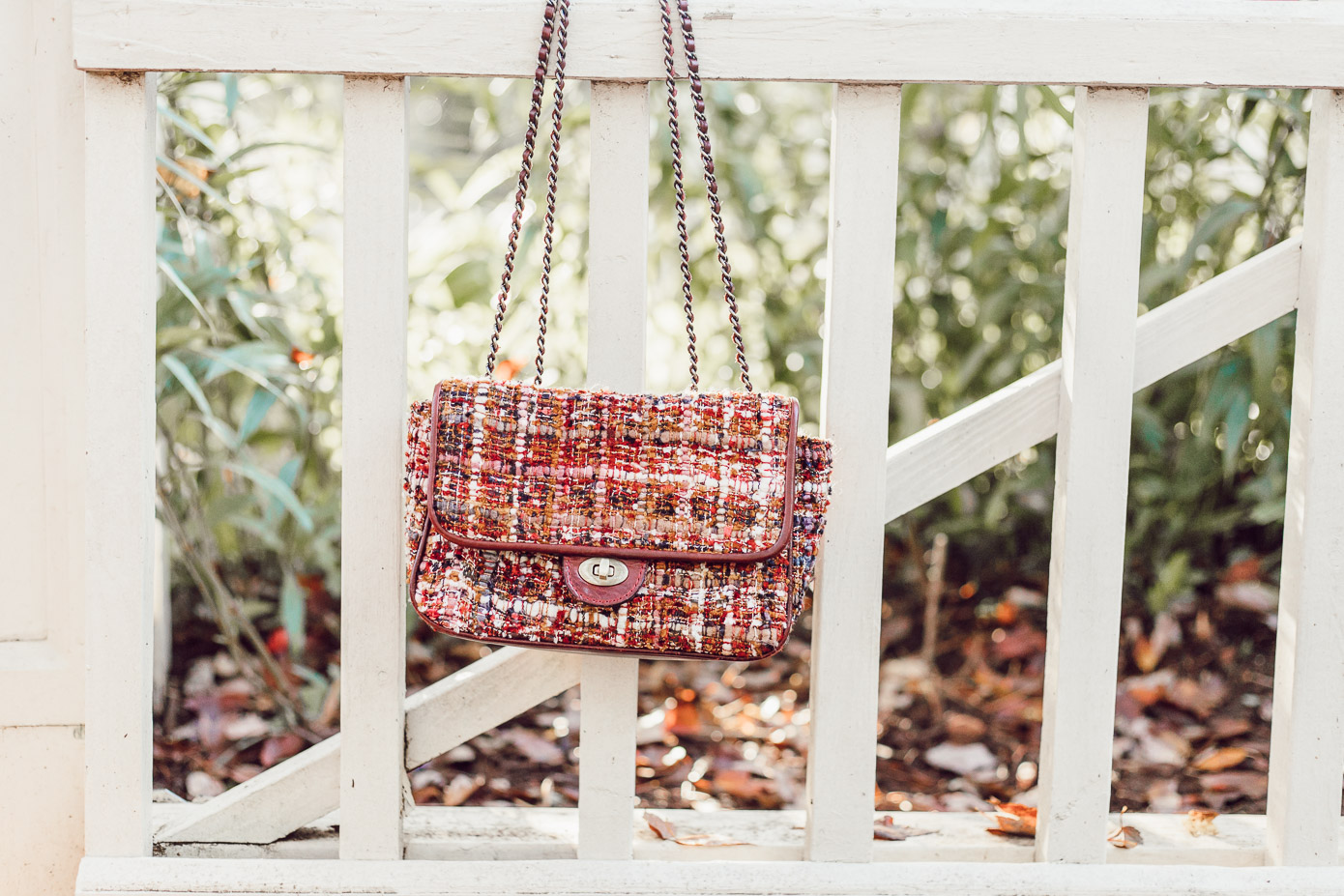 Casual Thanksgiving Outfit Idea   Fall Boucle Handbag featured on Louella Reese