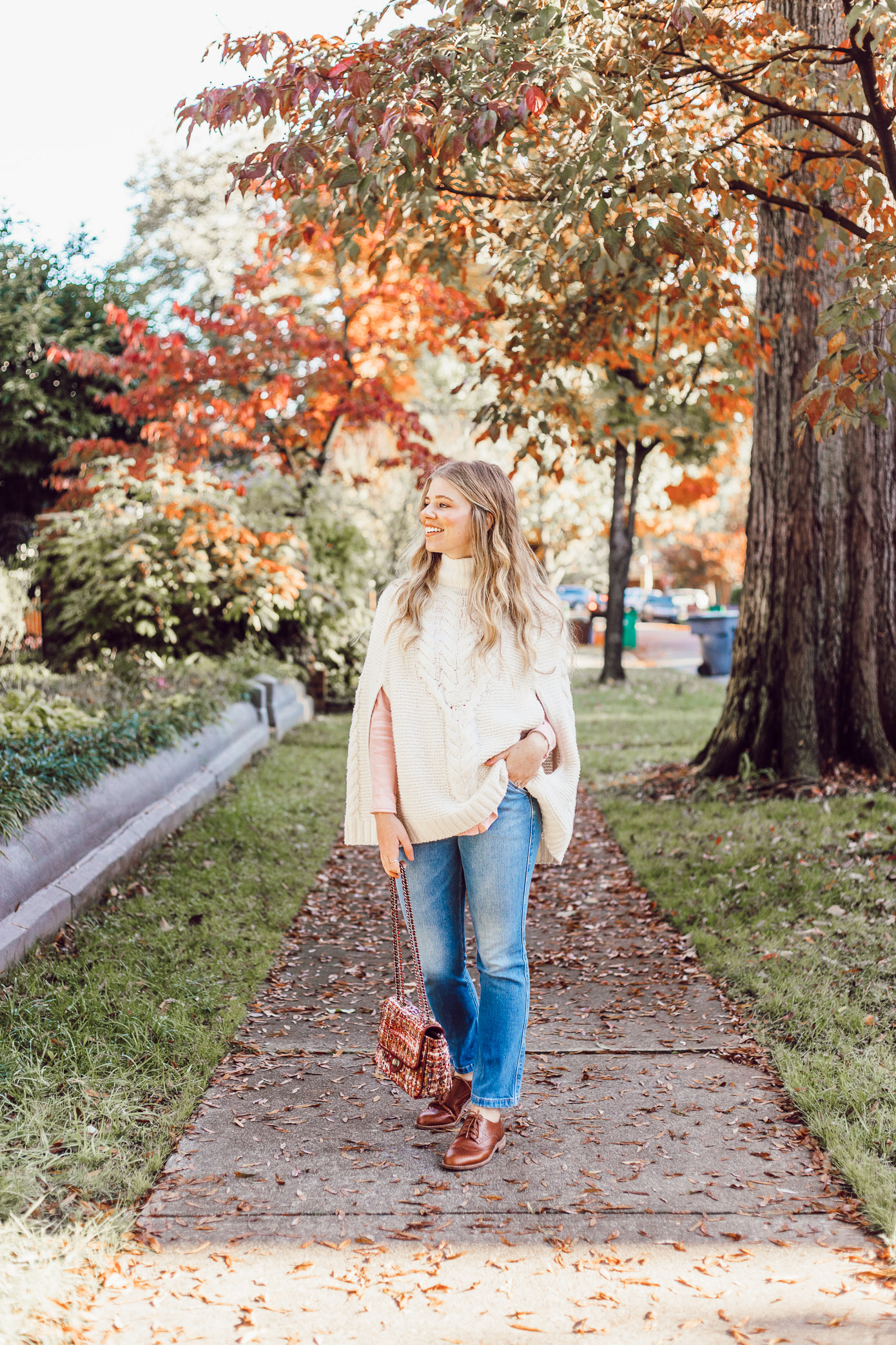 An Outfit That Will Hide Your Thanksgiving Food Baby | Sweater Poncho styled on Louella Reese Life & Style Blog