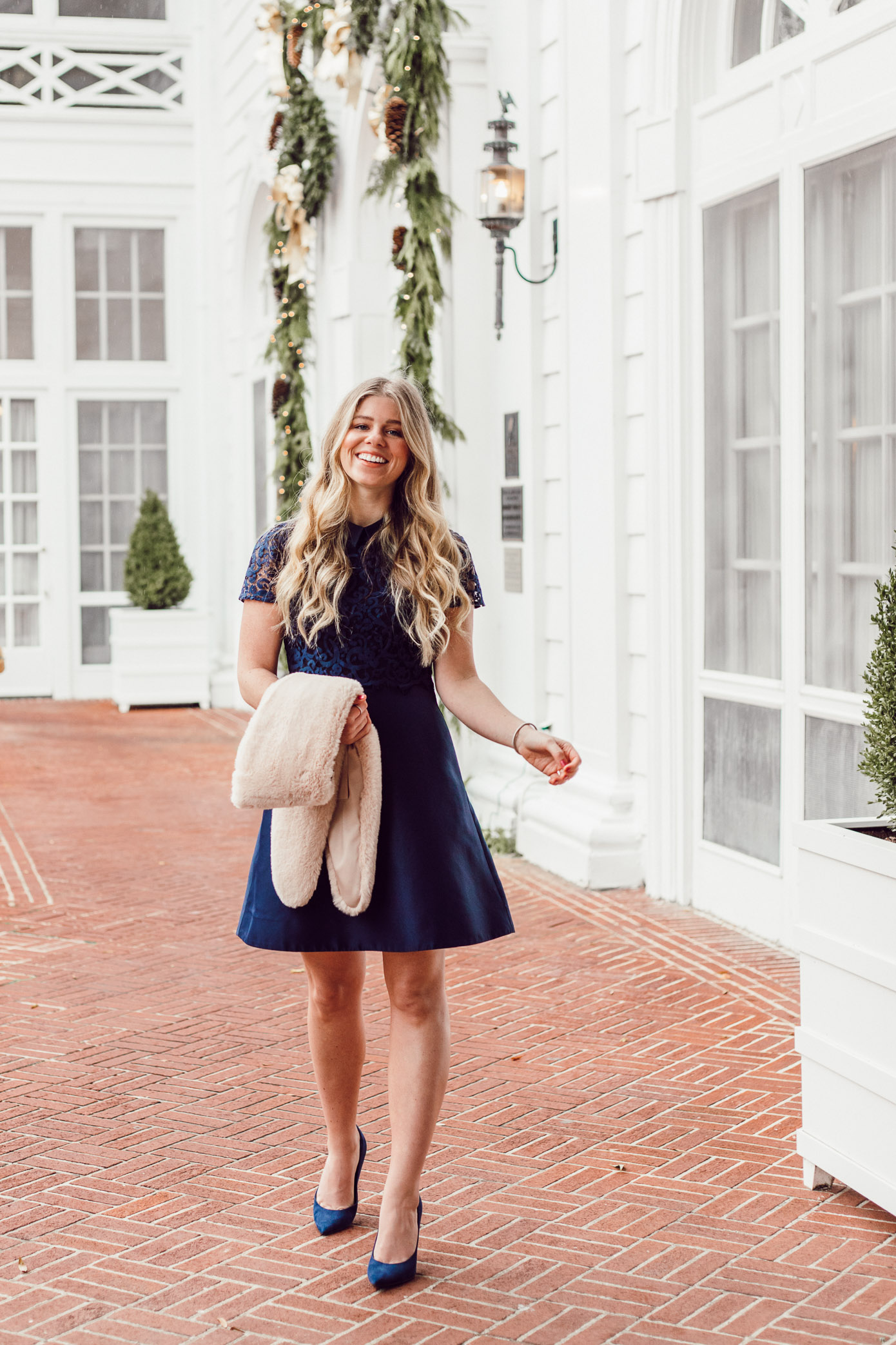 Finding the Perfect Holiday Party Dress with Rent the Runway on Louella Reese Life & Style Blog | Navy Lace Mini Dress, Christmas Party Dress