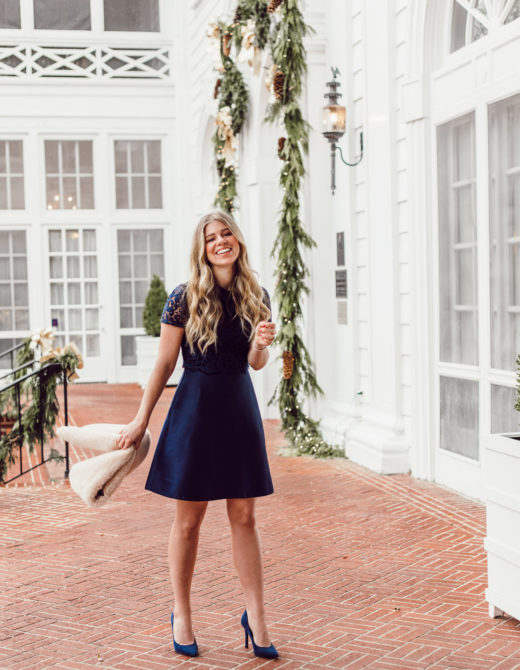Finding the Perfect Holiday Party Dress with Rent the Runway on Louella Reese | Navy Lace Mini Dress, Christmas Party Dress